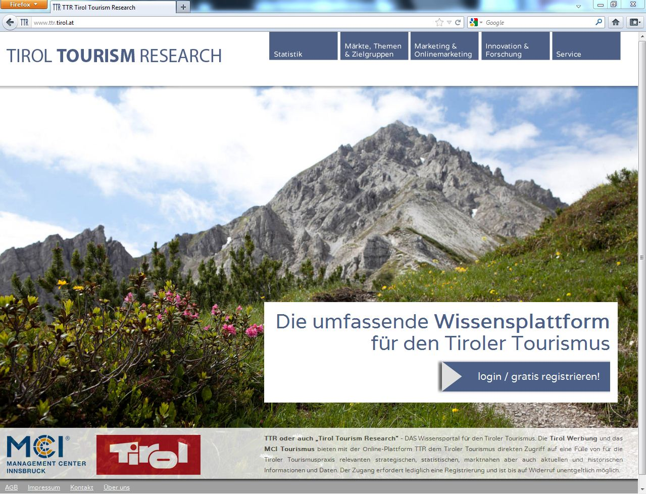 TTR 2.0 Screenshot Tirol Tourism Research